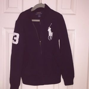 Front zip navy blue Ralph Lauren sweater